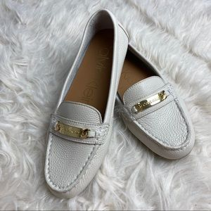 """Calvin Klein """"Lunasi"""" Ivory Leather Loafers"""